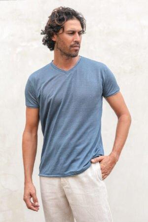 Ambun linen jersey teeshirt blue grey