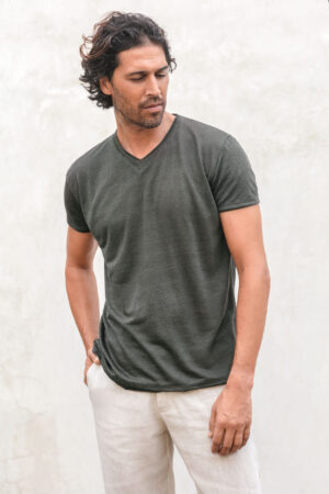 Ambun linen jersey teeshirt olive night