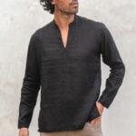 KUMO Split vneck linen shirt black