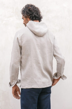 Linen hoodie double sided zipper