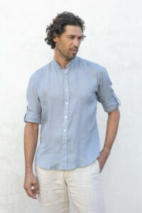 AO Linen shirt Mandarin colar bottow down roll up sleeves 100% linen