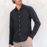 IAW classic bottom down linen shirts black