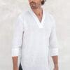 Ghym crossover split vneck linen shirt